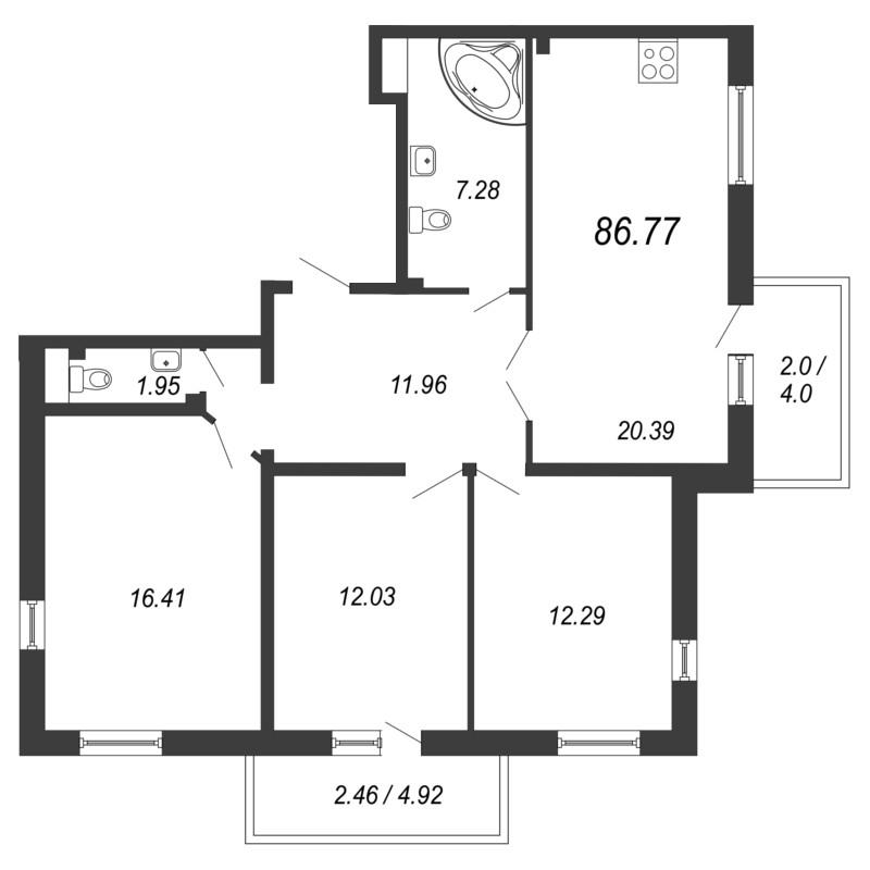Планировка Трёхкомнатная квартира площадью 86.77 кв.м в ЖК «Кремлевские звезды»