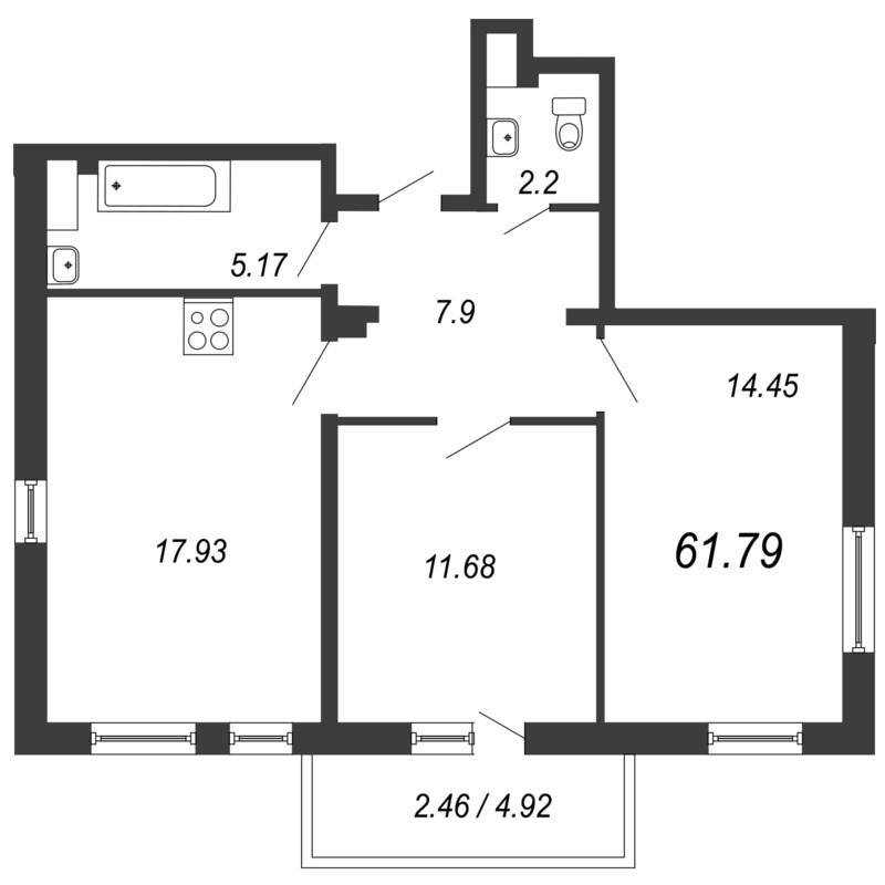 Планировка Двухкомнатная квартира площадью 61.79 кв.м в ЖК «Кремлевские звезды»