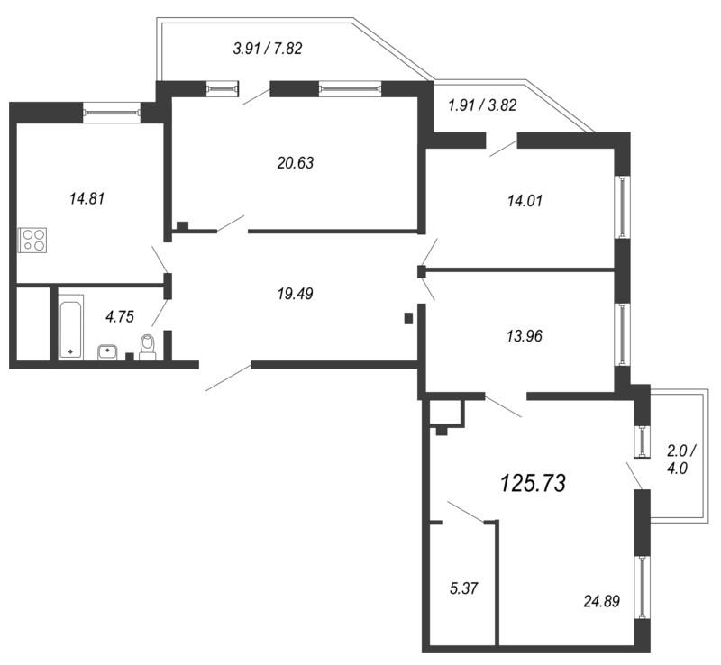 Планировка Четырёхкомнатная квартира площадью 125.73 кв.м в ЖК «Кремлевские звезды»