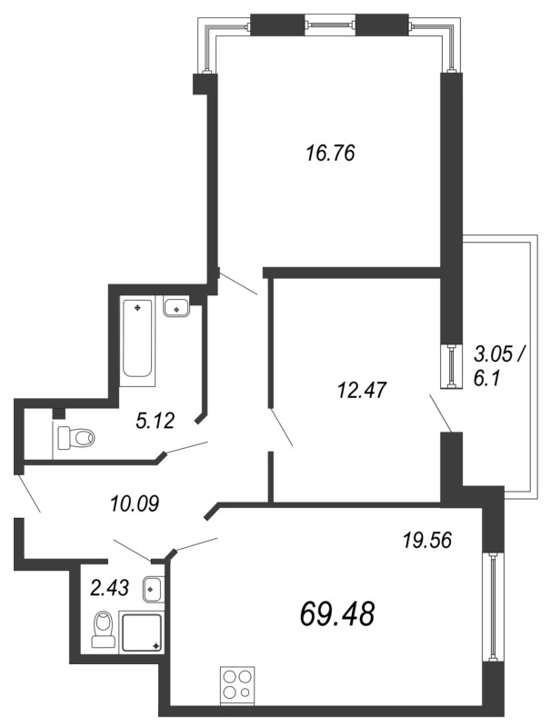 Планировка Двухкомнатная квартира площадью 69.48 кв.м в ЖК «Кремлевские звезды»